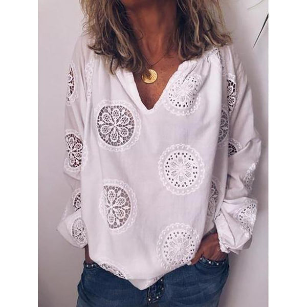 Chiffon Long Sleeved Solid Color V-Neck Shirt