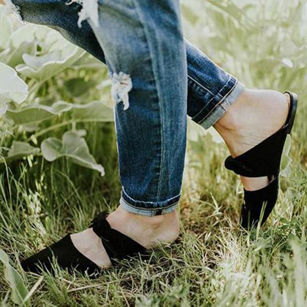 Casual  Bow Pointed Toe Sandal Slipper