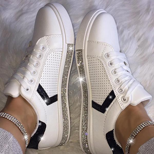 Solid Color Rhinestone Decorative Round Toe Sneakers