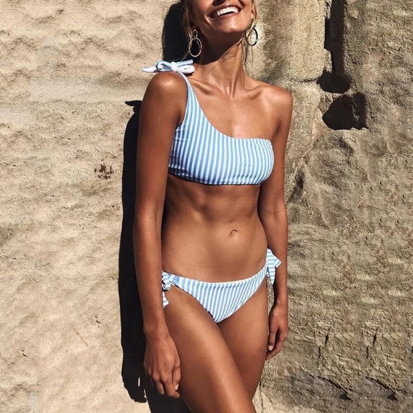 Sexy Stripe One Shoulder Bikini Beach Swimwear