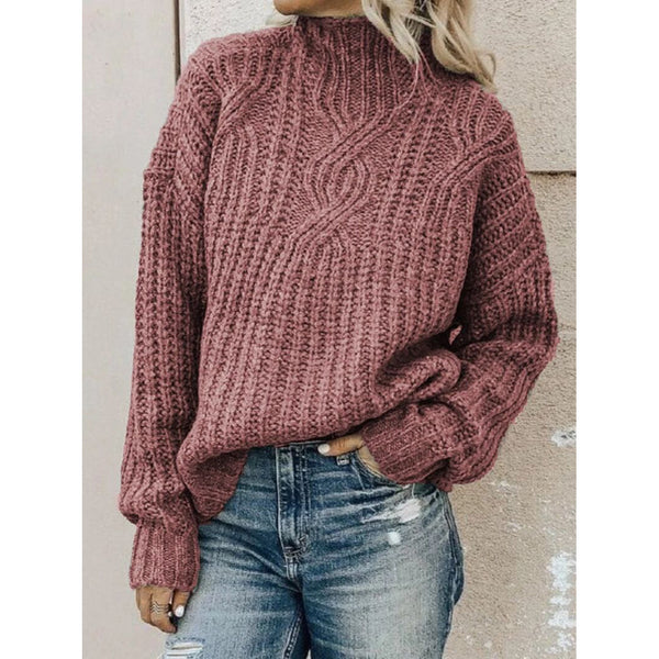 Multicolor Long Sleeve Texture Warm Turtleneck Sweater