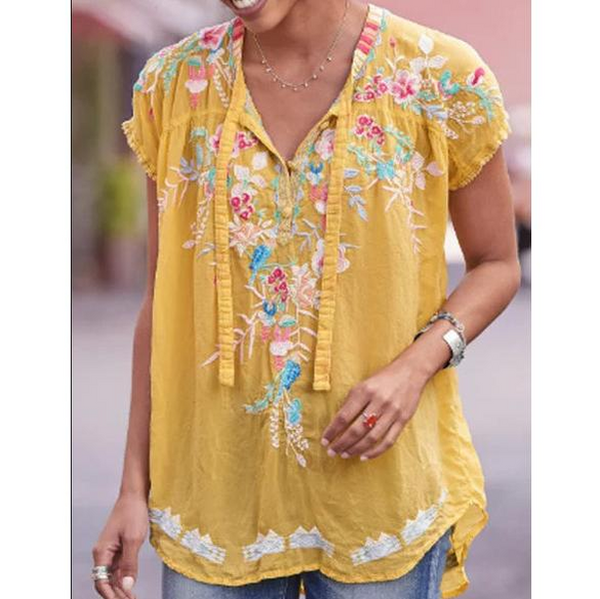 Sleeveless V Neck Boho Shirts Blouse