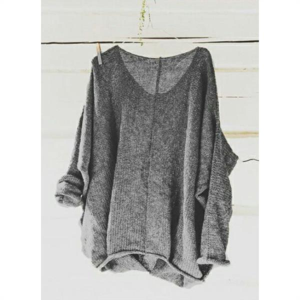 V-Neck  Casual Solid Color Long-Sleeved Shirt