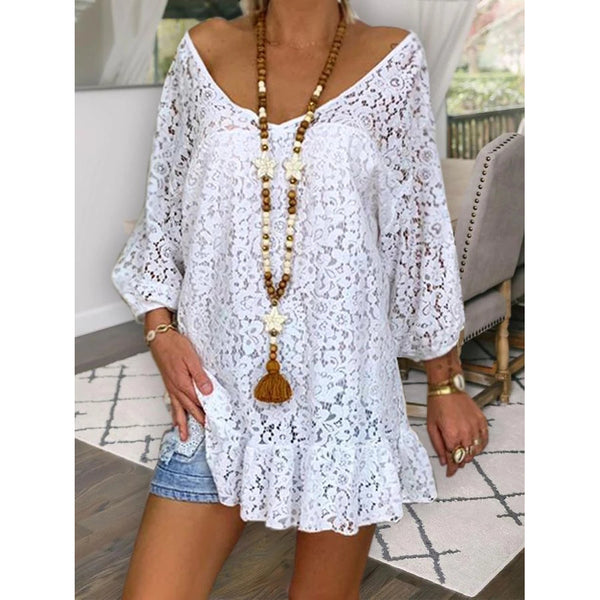 Solid Color Lace V-neck Blouses