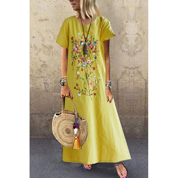 Round Neck Short Sleeve Loose Casual Dresses