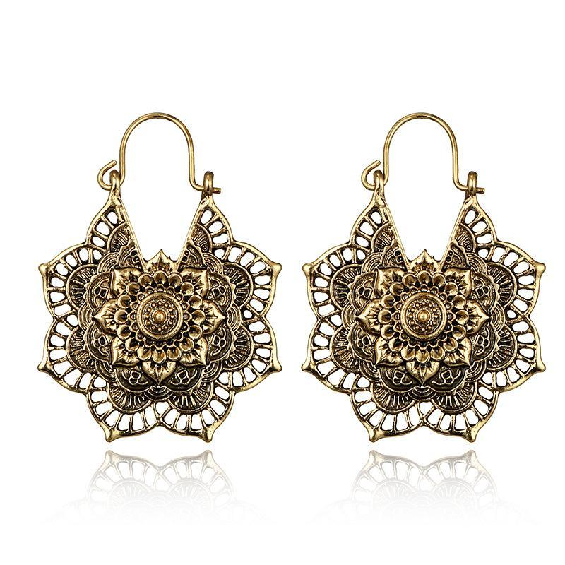 Bohemian Vintage Openwork Flower Alloy Earrings