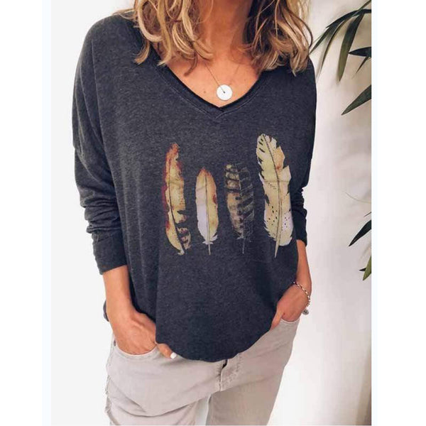 V Neck Feather Printed Fall Women Casual Printed Shirt &Tops
