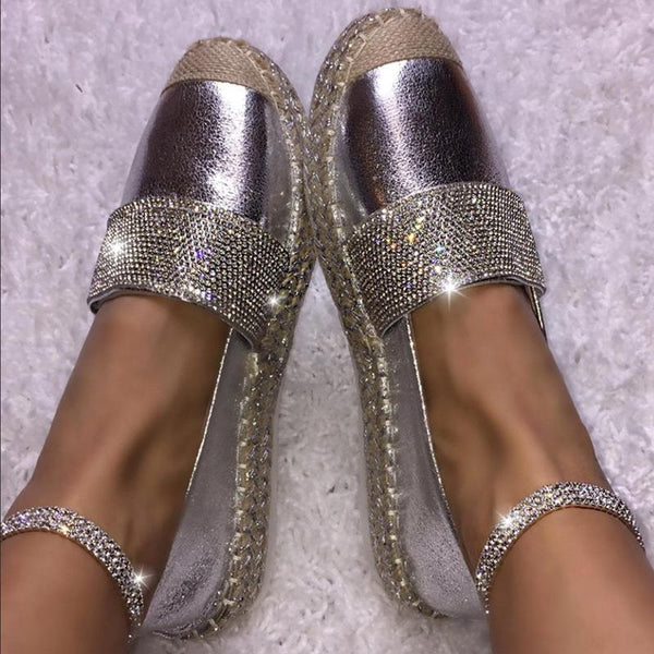 Crystal Glance Slip-on Flat Shoes