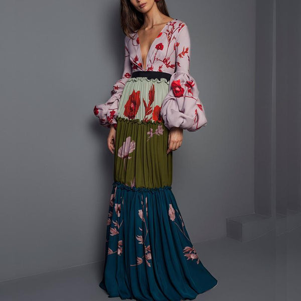 Plunging Neck Party Floral Paneled Pleated Maxi Dress