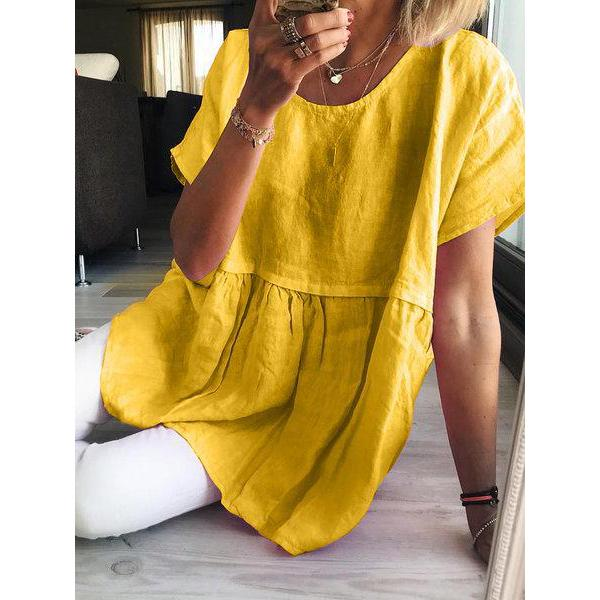 Casual Short Sleeve Solid Color Cute Blouse