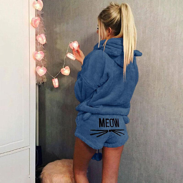 Female Cat Embroidered Pajamas Hooded Casual Plus Size Women's Suit