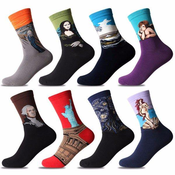 Men Women Oil Painting Socks Retro Harajuku Street Graffiti Personality Art Abstract High Ankle Socks