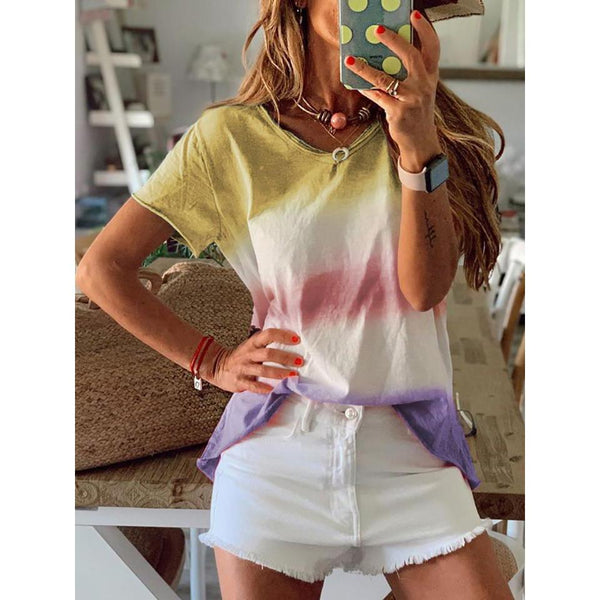 Gradient Rainbow Stripe Short Sleeve Summer T-Shirts
