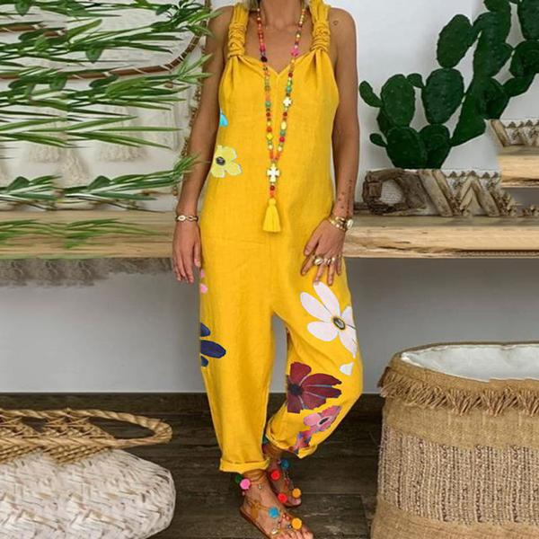 Boho Sleeveless Floral Printed Loose Jumpsuits