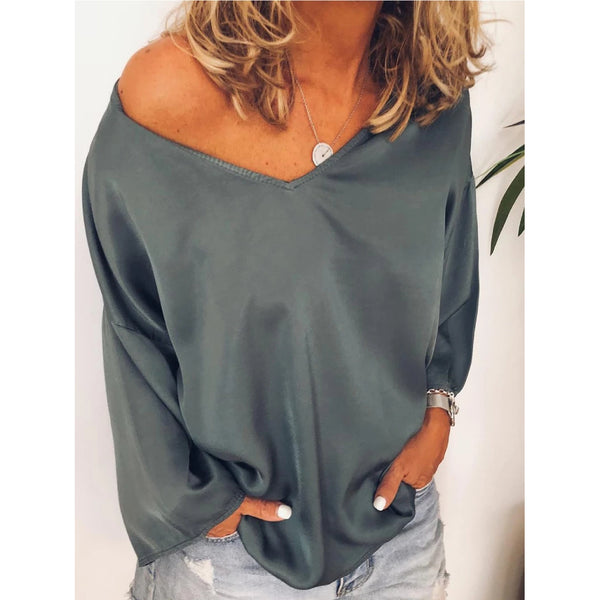Loose Large Size Women Solid Color V-neck Long Sleeve Blouses