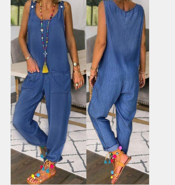 U-Neck Sleeveless Denim  Jumpsuits