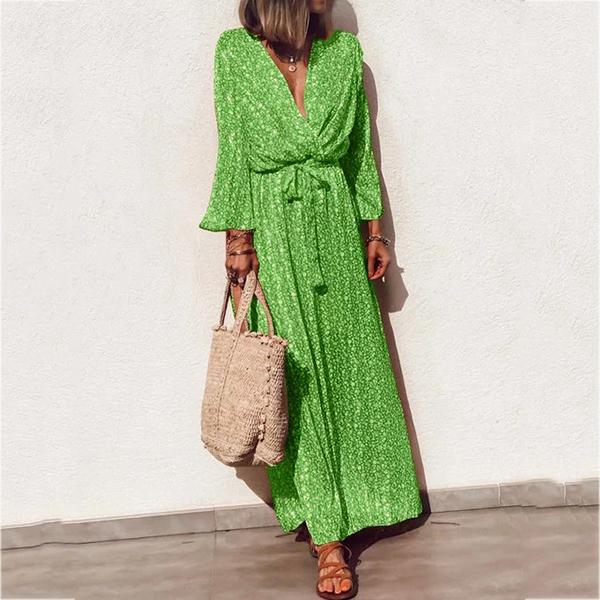 Long Sleeve Floral Elegant Casual V Neck Maxi Dress