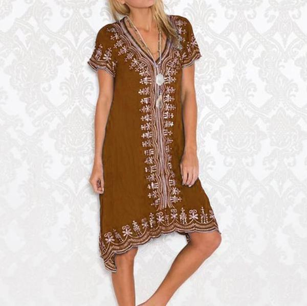 Bohemian Print Short Sleeve Dresses