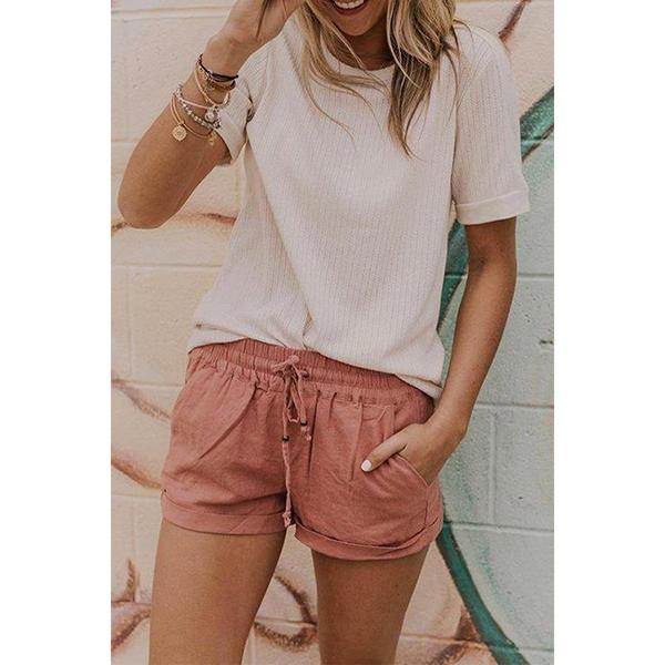 Summer Casual Pockets Drawstring Shorts