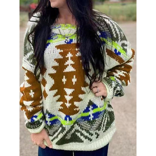 Geometric Print Long Sleeve Ethnic Sweater