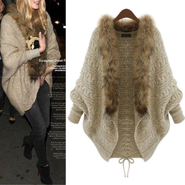 Womens Knit Cardigan Bat Sleeve Fur Collar Sweater Sweater