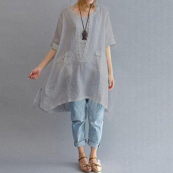 Solid Casual 3/4 Sleeve Linen High Low Dresses