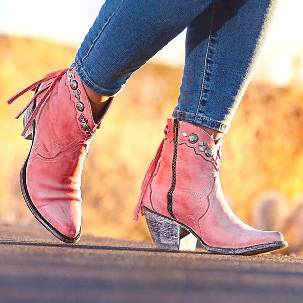 Women Thick Heel Retro Tassel Zip Boots
