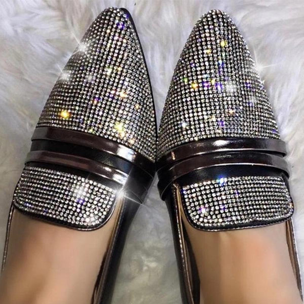 Fashion Shallow Pointed Rhinestone Casual Flat Shoes