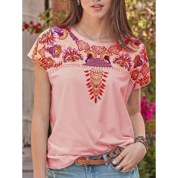 Daily Short Sleeve Printed Round Neck Blouse