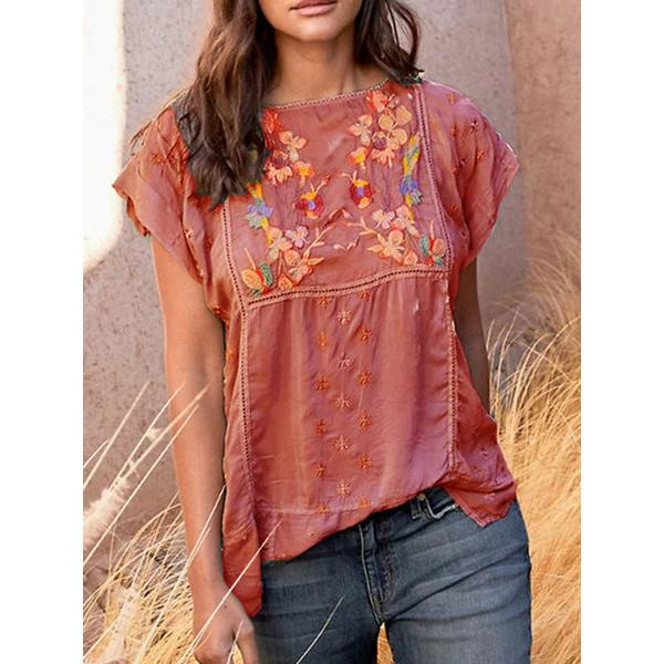 Casual Vintage Printed Short Sleeve Blouse
