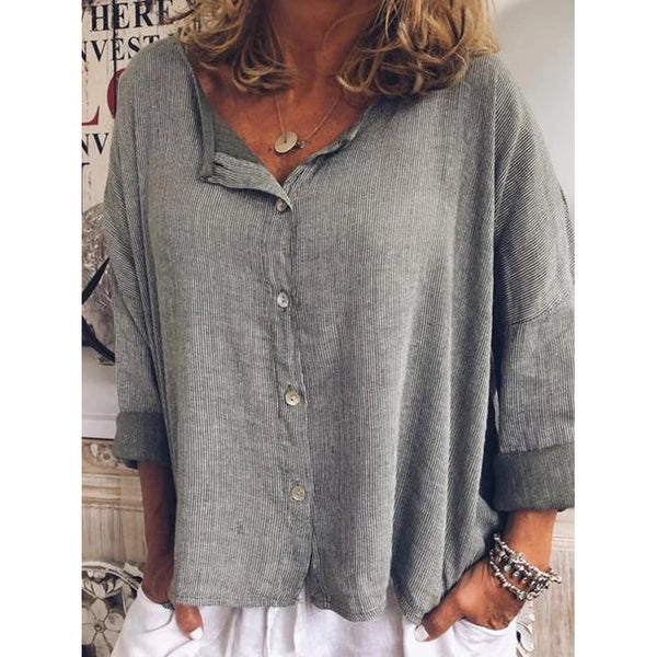 Casual Striped V-neck Ladies Blouses