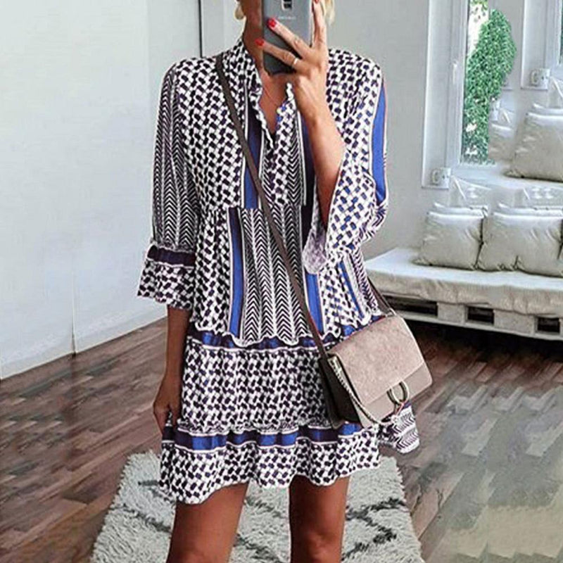 Print Stitching Shirt Collar 3/4 Sleeve Dress