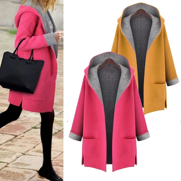 Plus Size Casual Pockets Long Sleeve Outwear