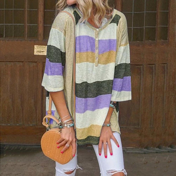 Striped Casual R-neck Half Sleeve T-shirt
