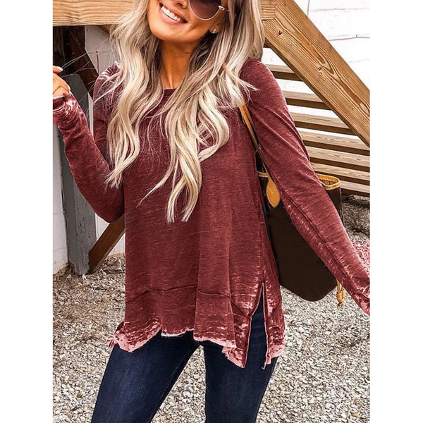 Plus Size Crew Neck Casual Long Sleeve Sweatershirts
