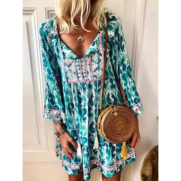Bohemian High-Waist Long Sleeve Floral Dress