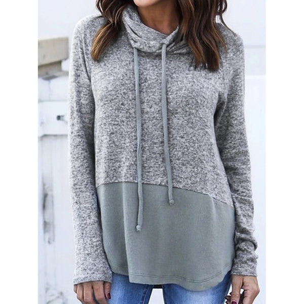 Long Sleeve Paneled Solid Casual Hoodie