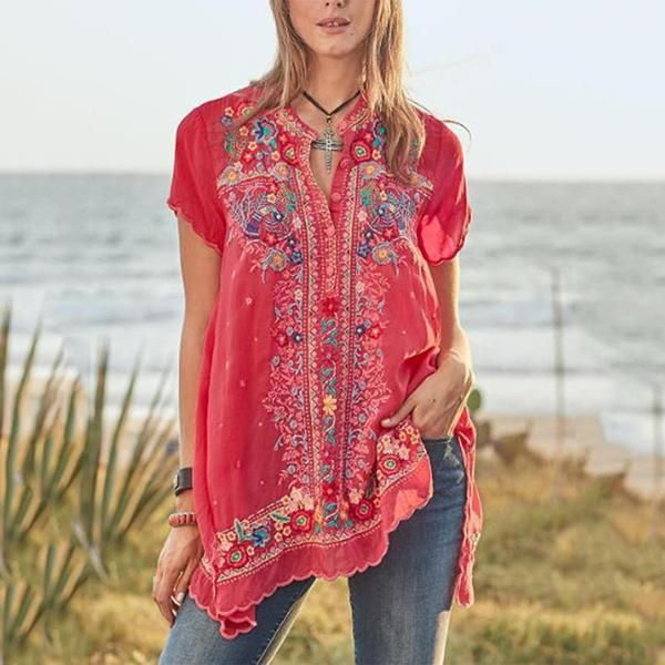 Bohemian Embroidery V Neck Loose Blouse