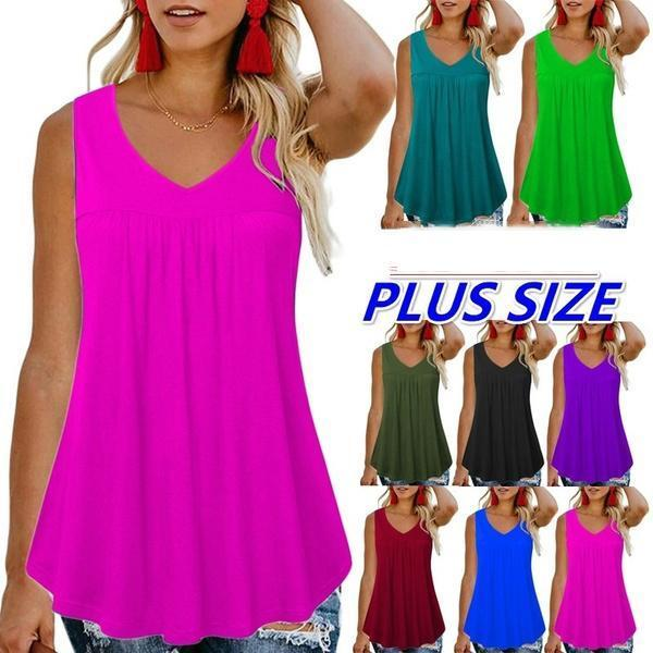 Women's Faashion Summer V-neck Sleeveless Tops
