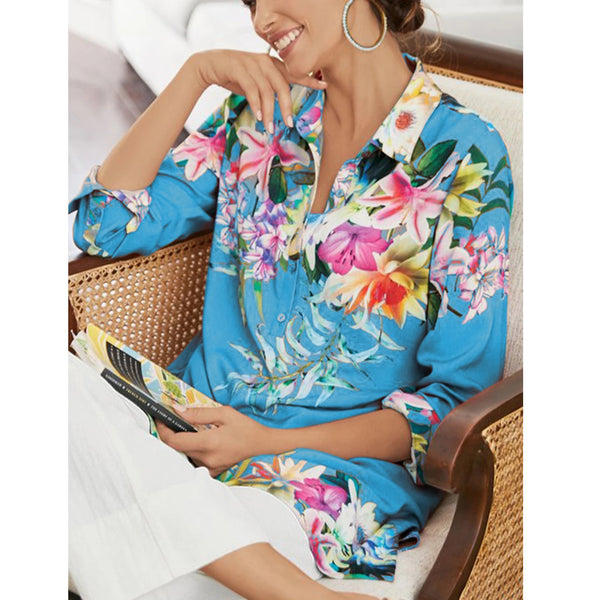 Vintage Women Half Sleeve Floral Casual Holiday  Shirt