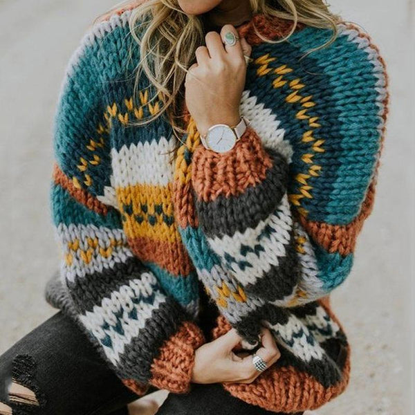 Women's Multicolor Knit Stitching Cardigan