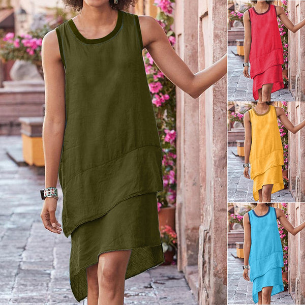 Round Neck Stitching Multi-layer Hem Sleeveless Dress