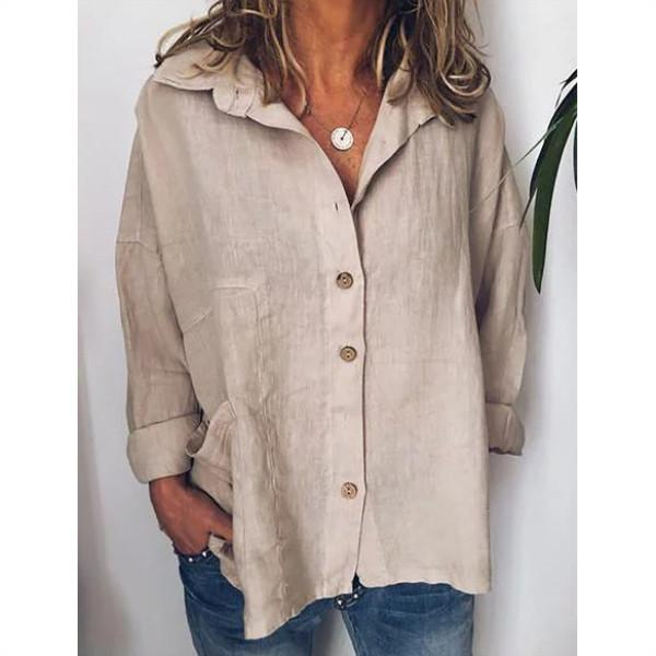 Plus Size Solid Color Cotton&Linen Bat Sleeve Shirt