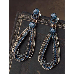 Women's Vintage Luxury Hollow Sapphire Dangle Earrings