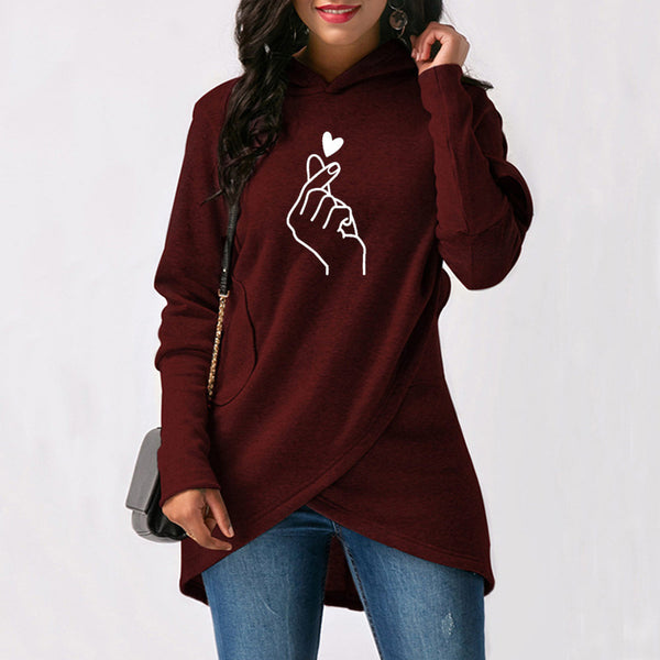 Loose Hooded Irregular Pocket Printing Sweatershirts