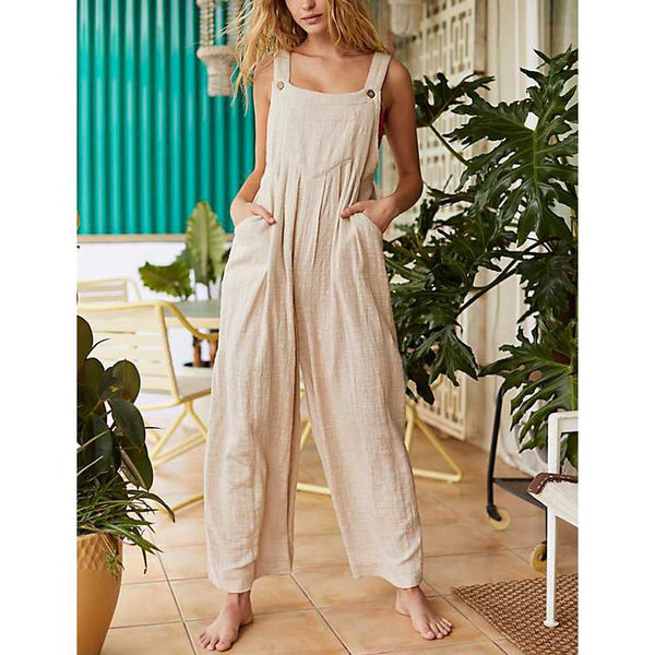Solid Color Pockets Plus Size Jumpsuit