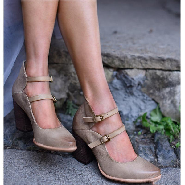 Casual Vintage Buckle Chunky Heel Sandals