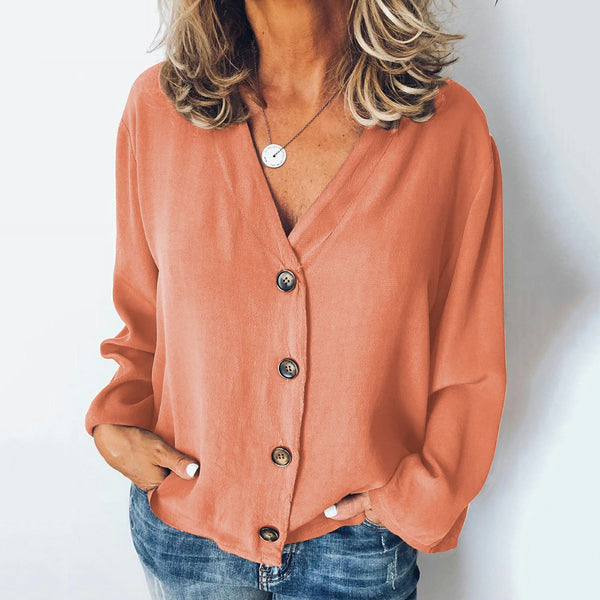 Plus Size Casual Buttoned Solid Long Sleeve Blouses