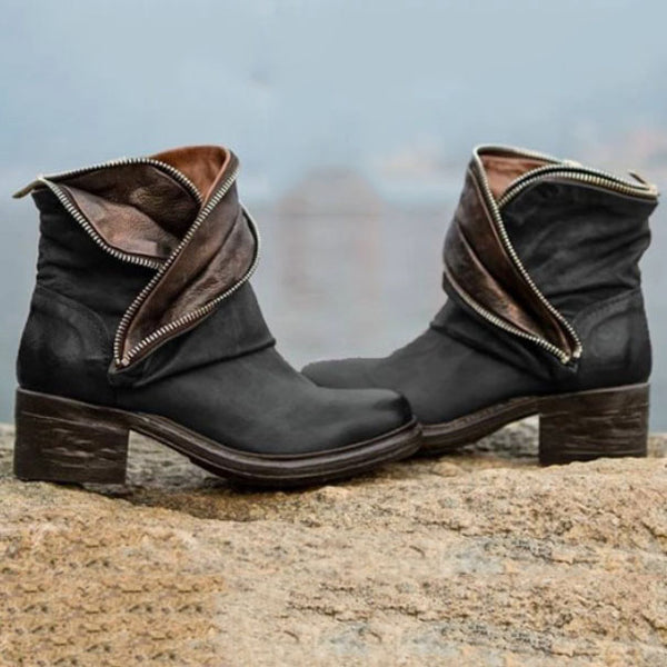 Fashion Plain Zipper Boots