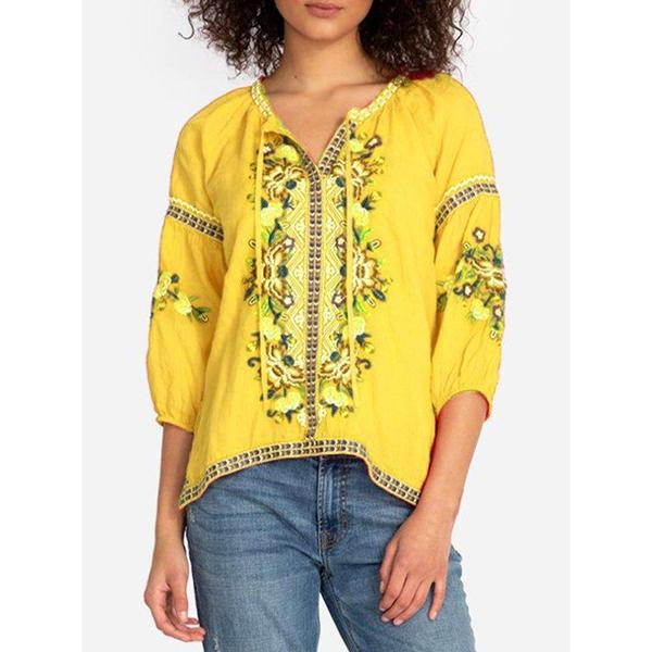 Women V Neck 3/4 Sleeve Printed Blouses